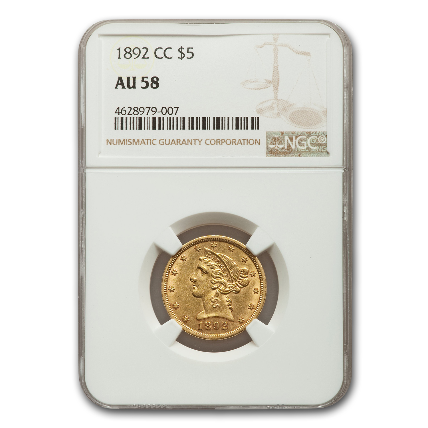1892-CC $5 Liberty Gold Half Eagle - AU-58 NGC